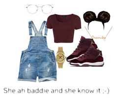 """""""Bad and she Been Knew it"""" by queen-miarose ❤ liked on Polyvore featuring Fat Face, Topshop, Rolex, Lee Renee and RetroSuperFuture"""