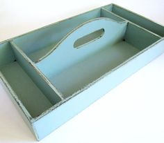 Rustic Robins Egg Blue Wooden Caddy for by chocberryavenue on Etsy, $46.00 #caddy #homedecor