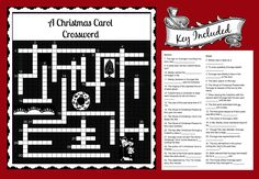 Crucigramas para nios para imprimir pinterest a christmas carol crossword fun activity to use with story malvernweather Gallery