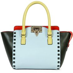 Valentino Rockstud Four-Color Micro Mini Shopper Bag (2,980 CAD) ❤ liked on Polyvore featuring bags, handbags, tote bags, colorblock tote, blue handbags, wing tote, zip top tote bag and mini handbags