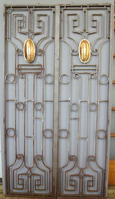 Wrought Iron Gates with Brass Plates 04569 (Sold) by The Door Store, via Flickr