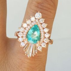 Heidi Gibson Rhapsody ring with a paraiba tourmaline. no color center stone- replace with diamond Dream Engagement Rings, Gemstone Engagement Rings, Beach Engagement, Jewelry Accessories, Jewelry Design, Tourmaline Ring, Pretty Rings, Vintage Diamond, Diamond Are A Girls Best Friend