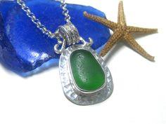 Genuine Green Sea Glass and Sterling Silver Bezel Set Pendant   Sea Glass Jewelry   Bezel Set Sea Glass   Green Necklace   Green Glass by LitaSeaGlassJewelry on Etsy https://www.etsy.com/listing/154053584/genuine-green-sea-glass-and-sterling