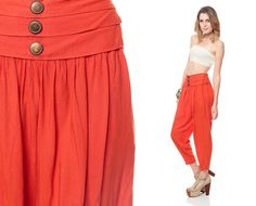 80s HAREM Pants High Waisted Orange baggy 1980s by ShopExile, $54.00