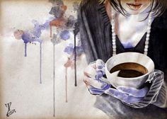 MoP_Coffee_03, Media: Watercolor on paper, Size: A4 (21 x 30 cm) by Miro Zgabaj https://www.facebook.com/pages/Miroslav-Zgabaj-Drawing-Painting/114161501988357?ref=aymt_homepage_panel