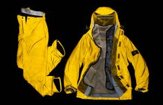 Reflective Jacket, a fabric with spectacular aesthetic effect given by the presence of small glass spheres. Jacket and trousers suited to night skiing. Stone Island 1989-90