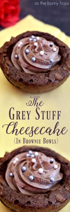 """We're making """"The Grey Stuff"""" cheesecake in brownie bowls, inspired by the famous dessert at Be Our Guest restaurant! Try this easy Walt Disney World inspired recipe. Perfect for any fan of chocolate and Beauty and the Beast!"""