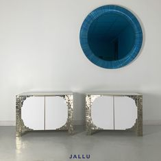 Bespoke pyrite and lacquer bedside cabinets, pyrite chevets, white bedroom furniture, designed by Jallu, luxury bedrooms, luxury bedroom furniture