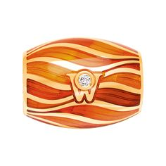 Cellini Jewelers 'Magic Coral' Rondel by Wellendorff  'Magic Coral' rondel in burnt orangey-coral cold enamel with gold wave design. Handcrafted in 18-karat yellow gold in a barrel shape that slides on a necklace or chain.