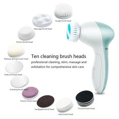 10 in 1 Multifunction Electric Face Cleansing Brush Spa Skin Massage – findurtrend Spin For Perfect Skin, Cheap Clean Eating, Facial Cleansing Brush, Face Massage, Personal Hygiene, Diy Skin Care, Spa, Beauty Care, Electric Face Brush