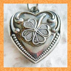 Vintage 1940's GOOD LUCK CLOVER PUFFY HEART ~ ENGRAVED DODIE sterling charm ~ SOLD