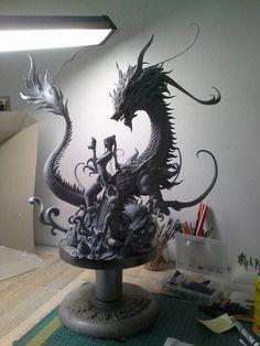 amazing dragon fantasy sculpture