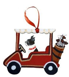 """Dogs on The Move"" Golf Cart Dog Wood 3-D Hand Painted Ornament - Boston Terrier"