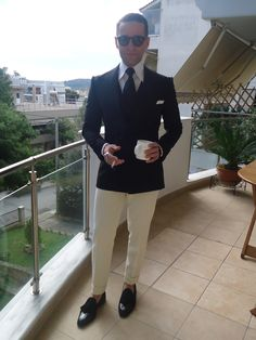 Konstantinos suits collection S/S 15 Black DB blazer and waistcoat super 120's wool and ivory super wool pants!