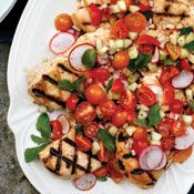 Grilled Chicken with Cucumber, Radish and Cherry Tomato Relish, Recipe from Cooking.com