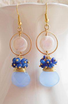 Constance gemstone chandelier earrings blue white gold