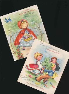 vintage get well cards for children: Red Riding Hood and Mulberry Bush, unused, 50's. by mudintheUSA on Etsy