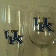 University of Kentucky wine & pilsner glasses