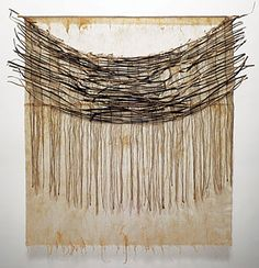 """One Evening by Young-Ok Shin dry arrowroot vine, linen thread, Korean paper, 50"""" x 45"""" x 2"""", 2009"""