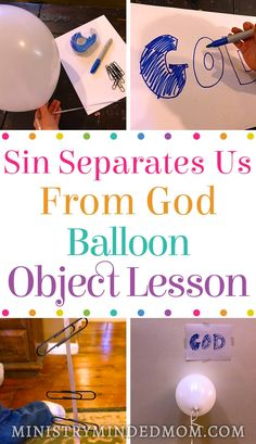 Teaching children about sin can be difficult. This sin object lesson for kids using a balloon and some paperclips can help them to learn how sin separates us from God and hinders our prayers. / Bible object lesson for preschoolers / easy Bible object less Kids Church Lessons, Bible Lessons For Kids, Bible Activities For Kids, Church Activities, Preschool Bible Lessons, Bible Games, Group Activities, Sunday School Crafts For Kids, Sunday School Activities