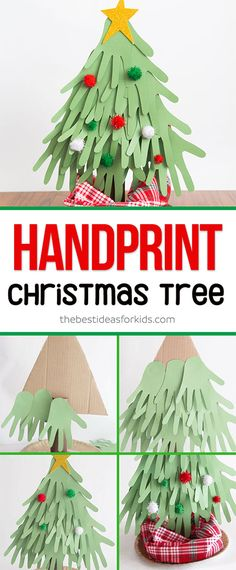 Handprint Christmas Tree Christmas Handprint Tree - fun kids craft for Christmas! Fun Crafts For Kids, Christmas Crafts For Kids, Christmas Projects, Holiday Crafts, Easy Crafts, Christmas Decorations, Craft Kids, Preschool Crafts, Tree Decorations