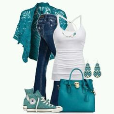 Teal and white