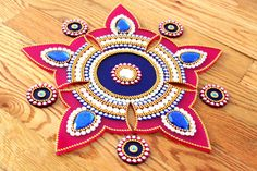 Hey, I found this really awesome Etsy listing at https://www.etsy.com/listing/238709697/pink-blue-kundan-rangoli-bollywood