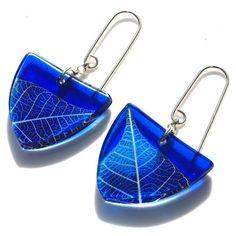 blue skeleton leaf  tri earrings