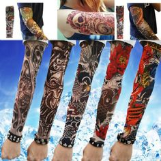 """Tatoo Arm Sleeves Kit  Unisex and one size fits most.Unless you have really huge arms, these should fit comfortably because they are stretchable.  Looks real & seamless; easy slip on & off.Stretchable fabric material (92% nylon & 8% spandex).  Measurement is approximately 14"""" long 3.2"""" wide when not stretched.  The pictures may not same with picture.   Hmxpls 6pcs Set Body Art Arm Stockings Slip Accessories Fake Temporary Tattoo Sleeves. Shipped by randomly."""