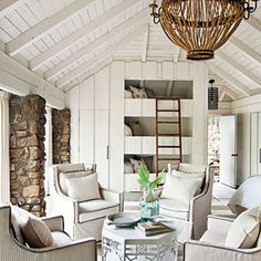 Love these triple bunk beds! After: Lake House Guest Room - Our Best Before and After Home Renovations - Southern Living Design Living Room, Living Spaces, Living Rooms, Small Living, Modern Living, Design Bedroom, Design Design, Pattern Design, Bedroom Decor