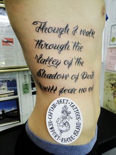 Though I walk through the valley of the shadow of death, I will fear no evil. Tattoo   though I walk through the valley of the shadow of death, I will fear no evil: for thou art with m