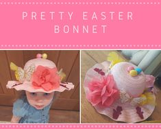 Simple pretty Easter Bonnet with flowers - butterflies