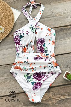 Outfits ideas & inspiration : The Rose Garden Wrap One-Piece Swimsuit is designed for comfort, and most import. The Rose Garden Wrap One-Piece Swimsuit is designed for comfort, and Bikini Floral, Bikini Bandeau, Halter One Piece Swimsuit, One Piece Swimsuit Flattering, Hi Waisted Swimsuit, Bikini Swimwear, Sporty Swimwear, Retro Swimwear, Summer Swimwear