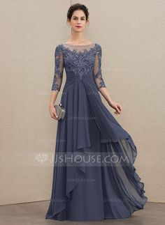 9cb95b207e1 A-Line Scoop Neck Floor-Length Chiffon Lace Mother of the Bride Dress With  Cascading Ruffles - DressFirst
