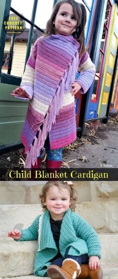 Child Blanket Cardigan #FreeCrochetPattern #CrochetBlanket, #crochetCardigan, Sweater   size: kids 18 months, 2/3T, 4/5T, 6/8T   Written   US Terms Level: upper beginner yarn: Lightweight (size 3 or DK) Hook: 5.5mm (I) Author: Ashlea. As you can see, an awesome model for kids, especially for girls, in four sizes actually.