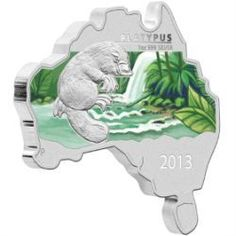 2013 Map Shaped Silver Coin - The iconic platypus is the fourth design featured in the exciting Australia Map Shaped Coin Series. Australia Map, Perth, Bullion Coins, Silver Bullion, Canadian Coins, Valuable Coins, Foreign Coins, Australian Animals, Australian Opal