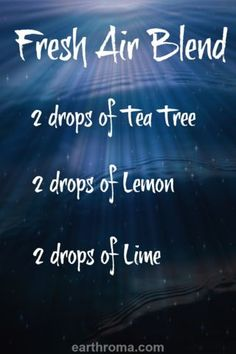 Try our Fresh Air Essential Oil Diffuser Blend for a wonderful fresh aroma.  2 drops of Tea Tree Essential Oil.  2 drops of Lemon Essential Oil.  2 drops of Lime Essential Oil.  Place in your diffuser and enjoy.  Visit http://www.earthroma.com/ for more recipes.