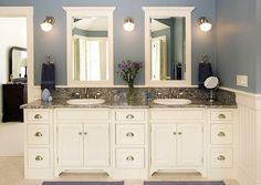 Beauteous Small Bathroom Cabinet Ideas Vanity With White Vanity Cabinet And Drawer Also Gray Marble Countertop And Double White Vessel Sink And Faucet Plus White Frame Mirror And Three Wall Lights As Well As Bathroom Sink Cabinets Also Bathroom Faucets, Seductive Design Decorative Bathroom Sinks: Bathroom