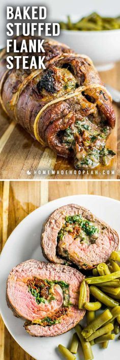 Baked Stuffed Flank SteakSpice up your boring steak dinner by filling a fine cut of meat with spinach, mozzarella, and sun dried tomatoes. It's easy to tailor to your tastes, too!About Baked Stuffed Flank Steak Beef Dishes, Food Dishes, Main Dishes, Food Food, Keto Steak Recipe, Flank Steak Recipes, Steak Meals, Steak Dinner Recipes, Healthy Steak Dinners