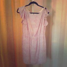 Pink Ann Taylor Dress Pink speckled print, exposed back zipper and flutter sleeves make this flirty feminine dress a wardrobe staple! Ann Taylor Dresses