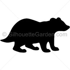 Badger silhouette clip art. Download free versions of the image in EPS, JPG, PDF, PNG, and SVG formats at http://silhouettegarden.com/download/badger-silhouette/