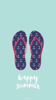 Blue Summer Flip Flops iPhone Lock Wallpaper @PanPins