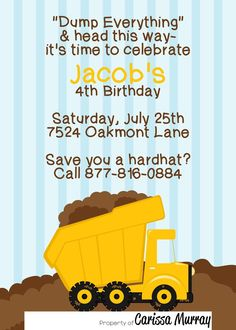 25 5x7 Dump Truck Construction Birthday Party by Carissa848, $31.25