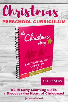 Take a journey through the Christmas story this holiday season! This Christmas Preschool Curriculum is perfect for early learning during the Christmas season. Teach early learning skills to your toddler or preschooler like letter recognition, calendar skills, patterns, and more. Plus, discover the true story of Christmas with preschool Bible lessons for each week. Click through to shop now and get your instant download!