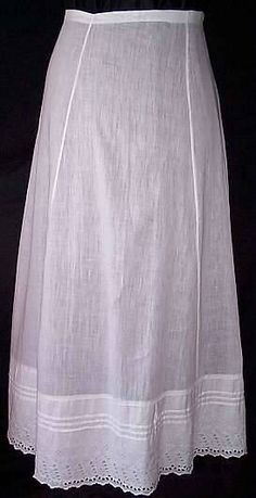Narrow Petticoat, c 1910-1912. Corsets and Crinolines dot com.