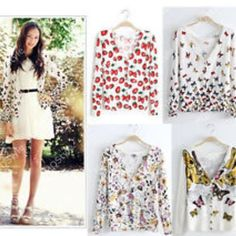 loose v neck butterfly print long sleeve cardigan sweaters