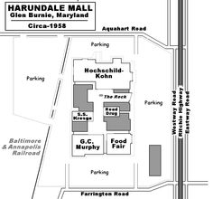 Harundale Mall, Glen Burnie Md. Sure doesn't look like much now, but it was the first enclosed shopping mall on the east coast.