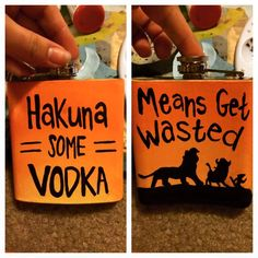 Lion King inspired hand painted flask