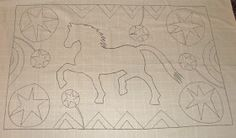 Antique horse rug hooking pattern coming soon to The Old Tattered Flag    www.theoldtatteredflag.com