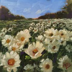 """Daily Paintworks - """"Daisies in the Meadow"""" - Original Fine Art for Sale - © Krista Eaton"""